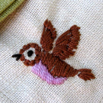 Embroidered Napkin Detail Bird