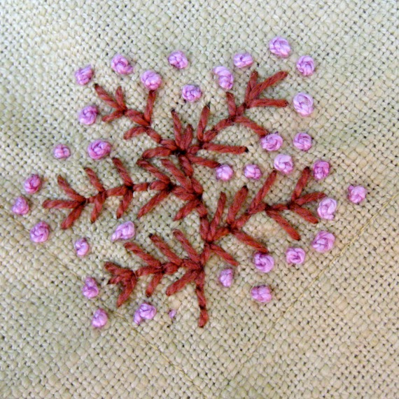 Embroidered Napkin Detail Flowers