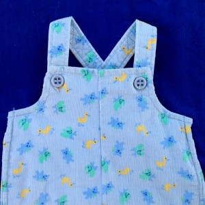 Vin's 1st pair of overalls, sent by his mom, sewn by Sara